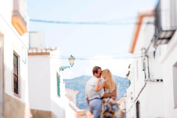 romantic couple in picturesque rural Denia in Spain